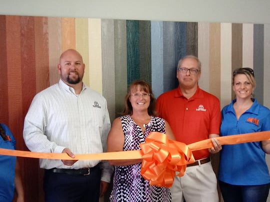 Annette Davis, Chamber Treasurer; Sean Hough, Aztec Manager: Cindy Fisher, Tuff Shed Sales; Joe Lorenc, Tuff Shed Albuquerque; and Theresa Bailey, Chamber President.