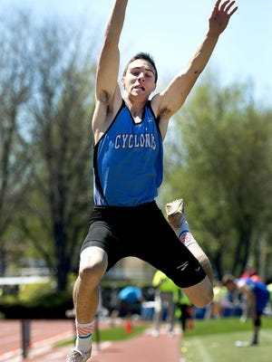 Pueblo West High School's Frankie Nash leaps to victory, winning the Class 4A long jump Saturday at Jefferson County Stadium in Lakewood in 2017. Nash landed a jump of 23 feet, 6 1/4 inches.