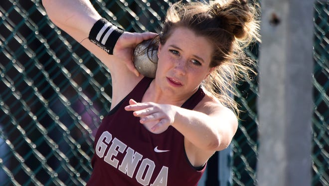 Genoa's Alexis Bryer established a school record to qualify to state in the shot put.