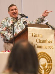 Gov. Eddie Calvo talks about increases in wages during the Guam Chamber of Commerce's monthly general membership meeting at the Sheraton Laguna Guam Resort in Tamuning on Wednesday, Jan. 25, 2017.