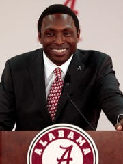 New Alabama NCAA college basketball head coach Avery Johnson speaks at an introductory press conference in Tuscaloosa, Ala., Wednesday, April 8, 2015, in Tuscaloosa, Ala. (AP Photo/Butch Dill)