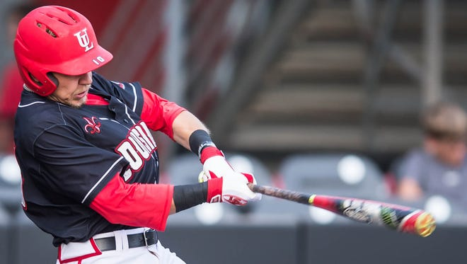 UL shortstop Brad Antchak connects for a hit against Arkansas State earlier this month.