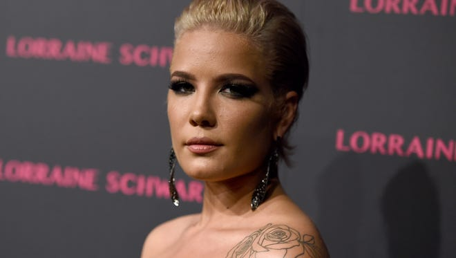 Halsey arrives at the Lorraine Schwartz Eye Bangles Collection launch at Delilah on Tuesday, March 13, 2018, in West Hollywood, Calif. (Photo by Jordan Strauss/Invision/AP)