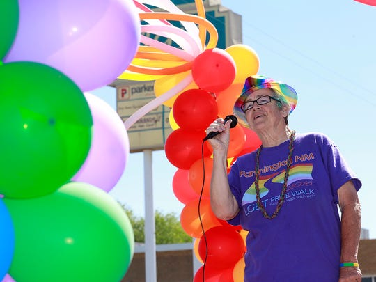 MP Schildmeyer, chair of the Farmington LGBT Pride Committee, talks to participants at the start of the Farmington Pride 2016 parade on Saturday June 18, 2016, on Main Street.