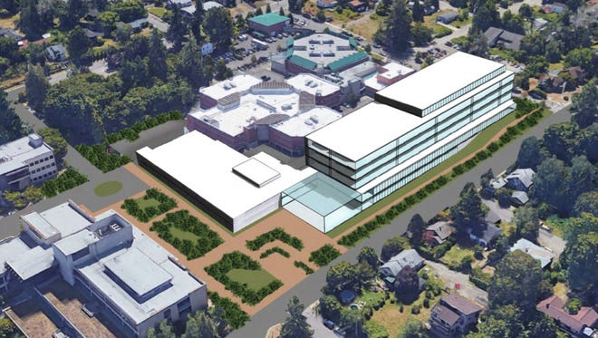 This conceptual drawing by Thomas Architecture Studios shows one of several options under consideration by Kitsap County for a new courthouse in Port Orchard. Preliminary concepts were presented to the Port Orchard City Council on July 17, 2018.
