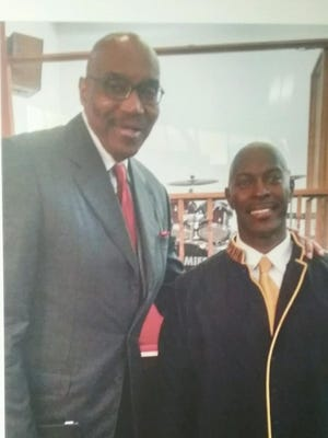 NBA Hall of Fame center Nate Thurmond, left, and the Rev. Robert Garris of African Baptist Church in Cape Charles.
