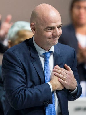 New FIFA president Gianni Infantino of Switzerland,  reacts after being elected in Zurich.