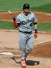 Tigers' Victor Martinez reacts after being called out on strikes in the fifth inning against the White Sox, Sunday, May 28, 2017 in Chicago.