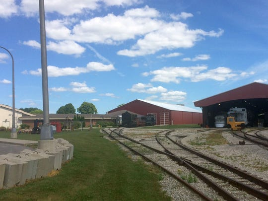The planned $20 million first phase of renovation at the National Railroad Museum includes the removal of the open-air McCormick Train Pavilion, right, to allow for the construction of a climate-controlled roundhouse for the museum's rolling stock in the expanded Lenfestey Center, left.