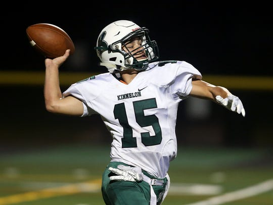 Kinnelon quarterback Joe Rymarz throws vs. Hanover