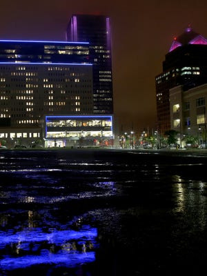 City buildings were lit up to honor Jack Heiligman, a 3-year-old who died in a lawn mower incident in Webster.