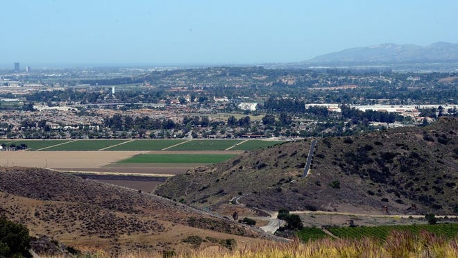 A panoramic view seen from the Conejo Grade shows agricultural land into Camarillo and Oxnard.