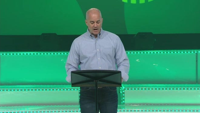 CONTRIBUTED PHOTO Executive Pastor Shane Duffey of NewSpring Church speaks to church members at a service, telling them that Perry Noble had been removed as senior pastor on July 1 after the NewSpring governing board had 'made a difficult and painful decision' to make a change.