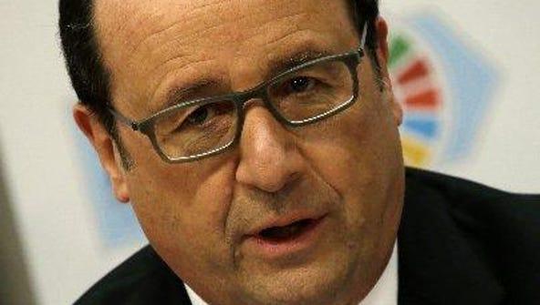 Francois Hollande, President of France, speaks at a