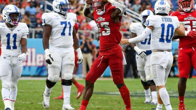 Florida Atlantic cornerback James Pierre celebrates during a 28-13 victory over Middle Tennessee State on Oct. 12, 2019.