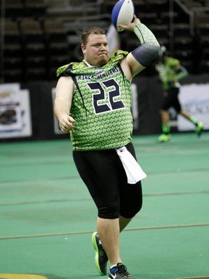 Feb 9, 2014; Highland Heights, KY, USA; Northern Kentucky River Monsters quarterback Jared Lorenzen during pre game warm up at the Bank of Kentucky Center. Mandatory Credit: Frank Victores-USA TODAY Sports
