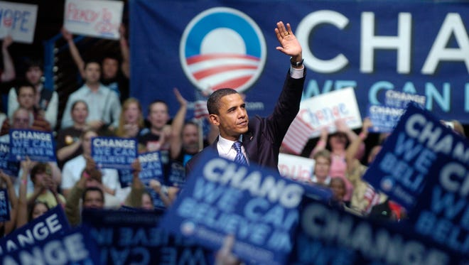 Barack Obama speaks during a campaign stop at the Sioux Falls Arena. (Lara Neel/Argus Leader)