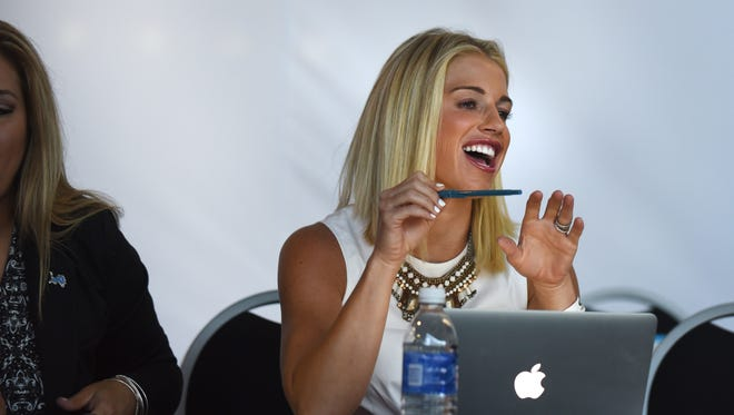 Kelly Stafford, wife of Detroit Lions quarterback Matthew Stafford, was a judge during the auditions for the Lions cheerleading team. Kelly Stafford announced on Instagram Friday afternoon that she's pregnant and expecting their first child.