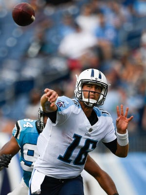Titans quarterback Matt Cassel (16) throws a pass during the first half against the Carolina Panthers on Aug. 19, 2017, at Nissan Stadium.