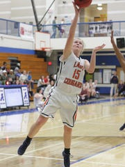 Dickson County's Raegan Purvine shoots against Antioch
