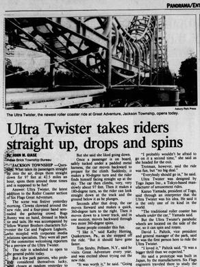 1986: The June 6, 1986 edition of the Asbury Park Press featured coverage of the new Ultra Twister roller coaster.