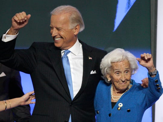 Democratic vice presidential nominee Sen. Joe Biden, D-Del., is joined by his mother, Jean, on stage after speaking at the Democratic National Convention in Denver, Wednesday, Aug. 27, 2008.  (AP Photo/Ron Edmonds)