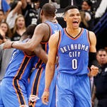 Russell Westbrook and the Thunder celebrate their Game