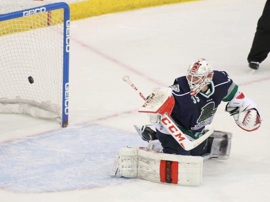 Everblades' goalie Rasmus Tirronen (35) watches as the puck gets past him as the Nailers tie it up 1 - 1 in the 2nd period during the hockey game between the Wheeling Nailers and the Florida Everblades at Germain Arena in Estero, FL on Monday, April 25, 2016.  (Photo by Gregg Pachkowski/Special to the Daily News)