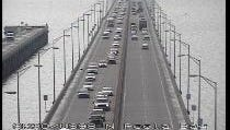 Traffic camera shows the northbound lanes (left) of the Pensacola Bay Bridge at 8:48 a.m. CST.