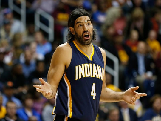 Pacers forward Luis Scola (4) reacts to a call against the Cleveland Cavaliers during their preseason game at the Cintas Center on Xavier University campus.