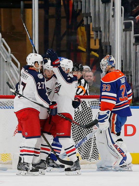 USP NHL: COLUMBUS BLUE JACKETS AT EDMONTON OILERS S HKN CAN AL