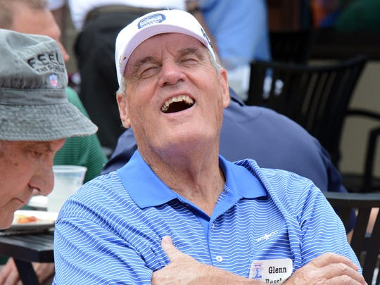 Glenn Ressler has a laugh during the luncheon at last year's Eddie Khayat and George Tarasovic Celebrity Golf Classic at Out Door Country Club. Bill Kalina photo