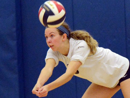 West York's Kate Tate lunges for a return against Allentown Central Catholic's during a PIAA girls' volleyball semifinal at Exeter Township High School Tuesday, Nov.14, 2017. Bill Kalina photo