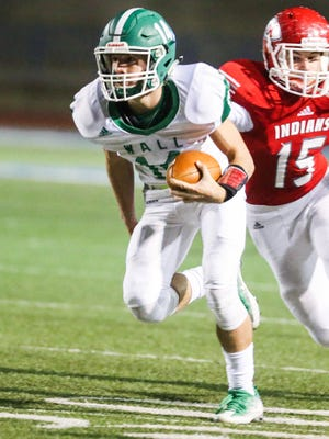 Wall's Brock Rosenquist (14) was a co-Most Valuable Player on the District 2-3A Division I all-district football team.