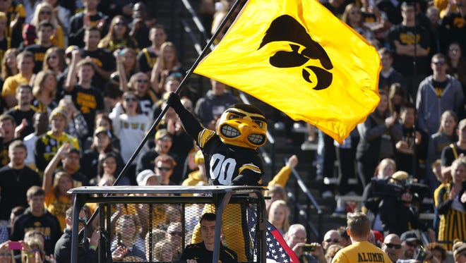 Herky the Hawk is happy with the announcement of a Nov. 14 sellout for Iowa's football game against Minnesota at Kinnick Stadium.