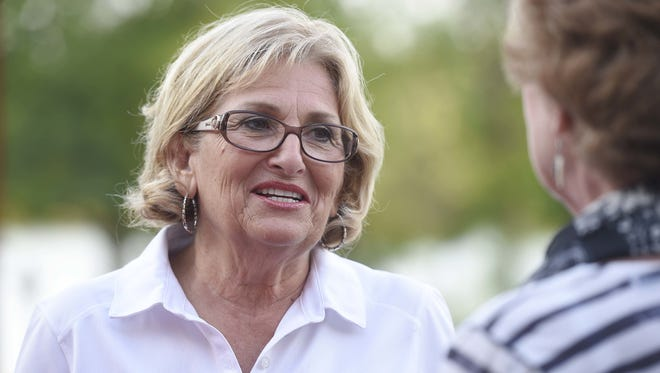 U.S. Rep. Diane Black talks with supporters at Barefoot Charlie's Restaurant in Hendersonville on Aug. 4, 2016.
