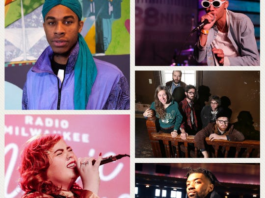 The Journal Sentinel's Wisconsin Bands to Watch for 2018 are (clockwise from top left corner): pop artist Lex Allen, rapper Denny Lanez, alternative country band Dusk, rapper BoodahDARR and soulful rocker Abby Jeanne.