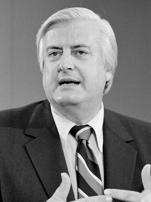 In this June 30, 1980, file photo, Rep. Henry Hyde, R-Ill., speaks to reporters in Washington, about the Supreme Court's decision that the federal government and individual states do not have to pay for abortions wanted by women on welfare. Hyde was one of the sponsors of a bill in Congress limiting spending of tax money to pay for abortions. The Hyde Amendment is now in the spotlight some 40 years after it was passed by Congress, emerging as an election issue in the national debate over abortion. First approved in 1976, and renewed annually ever since as part of the appropriations process, the amendment bans federal funding for Medicaid coverage of abortions, except in cases of rape or incest, or when a pregnancy endangers a women's life.