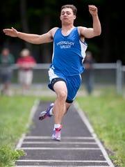 Missisquoi's Hunter Nunes-Wales attempts the long jump