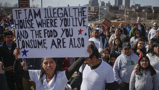 Thousands gather at the Iowa Capitol grounds Feb. 16 during the Day Without Immigrants march.
