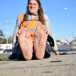 Man walks barefoot through Tallahassee on cross-country trip