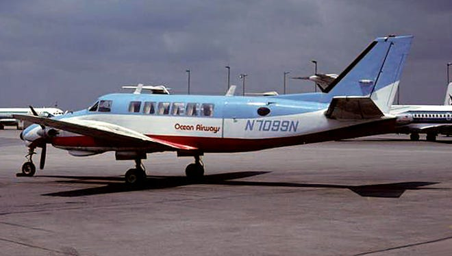 Ocean Airways operated the Beechcraft Model 99 on flights out of what is today Monmouth Executive Airport in Wall Township, N.J. This photo was taken in Atlanta in May 1980.