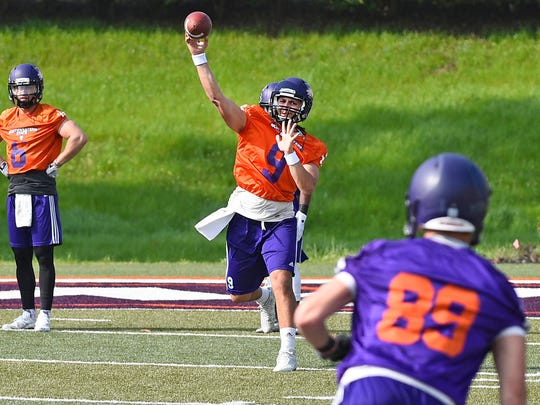 Brooks Haack throws a pass at a Northwestern State
