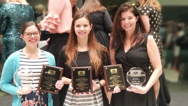 From left, Molly Anderson with Mt Pleasant Middle School representing 5th-8th grades, Jessica Vasquez with Howell Elementary School representing Pre-K-4th grades and Jennifer Lamb with Spring Hill High School representing 9th-12th grades are the MCPS Teachers of the Year.
