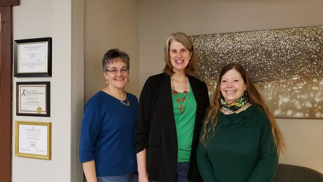 Karen Ingle (left), Carrie Meyers and Gwenn Harrington serve as the staff for the Choices Pregnancy Center, which is  located in Redwood Falls.