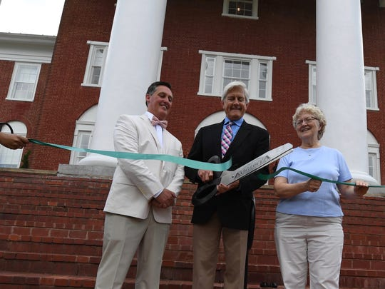 From left to right: Retro Hospitality CEO Paul Cooper, Blackburn Inn owner Robin Miller and Staunton Mayor Carolyn Dull. The Blackburn Inn is Staunton's newest and only boutique hotel. Located on Greenville Avenue, the 49-room hotel used to be the home of Western StateLunatic Asylum.