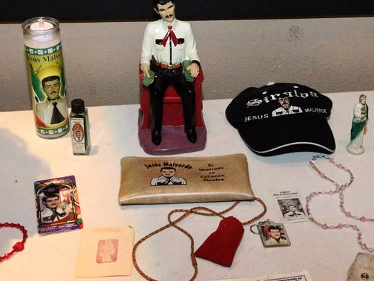 Jesus Malverde is a folklore hero from the Mexican state of Sinaloa. Adherents believe he stole from he rich to give to the poor.