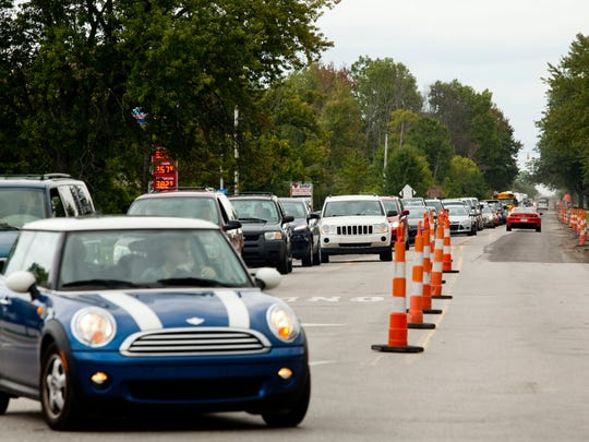 Traffic is backed up for about a quarter-mile Friday on Lapeer Road in Kimball Township. Lapeer Road between Range Road and Allen Road is down to one lane while work is being done.