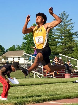 Avon's Isaac Guerendo competes in the long jump at Thursday's IHSAA regional at Lafayette Jeff.