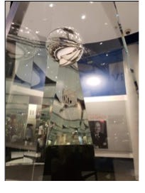 The Vince Lombardi Trophy, destined to be given to the winning team of Super Bowl LV, now is one display in the Pro Football Hall of Fame's Lamar Hunt Super Bowl Gallery.